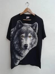 Vintage Vintage 80 90s Gray <b>Wolf</b> Wild Animal Life Inspire Big ...