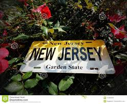 new jersey license plate displayed in a flower garden in new jersey