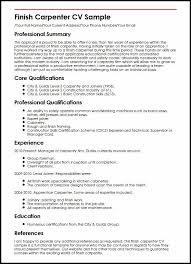 Carpenter Resume Example Finish Cv Sample Experience Thus Cv