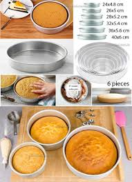set of 6 pieces cake pans round stainless