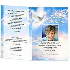 Funeral Program Word Template Magnificent Amazon Peace Funeral Program Template Edits In Microsoft Word