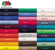 Fruit Of The Loom T Shirt Color Chart Shirts Plus Inc Serving Derby Wichita And The Rest Of