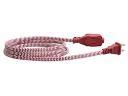 vision 3 pack 6 feet braided flat extension cord ul listed red 240055