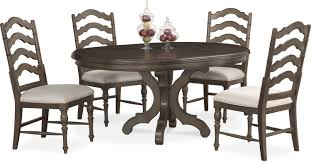 dining room furniture charleston round dining table and 4 side chairs gray