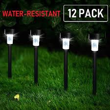 12 pack solar pathway lights led landscape outdoor patio garden walkway yard