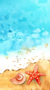 Free Hd Watercolor Seashore Phone Wallpaper 1147