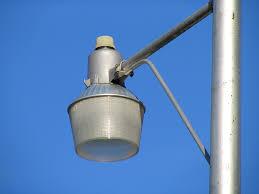 mercury vapor yard light on a pole