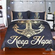 novelty gift keep hope words golden anchor pattern bedding set duvet quilt cover with 2 pillowcase twin full queen king size affordable comforter sets black