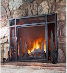 small mountain cabin fire screen with door 13381