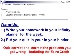 swbat solve multi step equations agenda 1 warm up 5 min