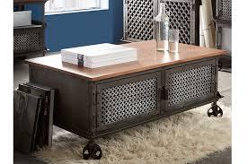 evoke wood and metal 2 door coffee table