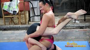 Slutty mistress loves to tease her slave during wrestling Struggle For Air As Tia Perfect Ass Sits On Your Face