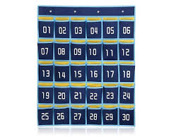 Loghot 30 Pocket Numbered Classroom Pocket Chart For Cell Phones Holder Wall Door Hanging Organizer With Hooks Dark Blue