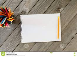 Notebook With Blank Pages And Colored Pencils Stock Image Image Of