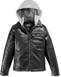 hawke co little boys hooded faux leather jacket
