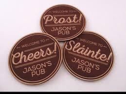 custom engraved leather pub coasters