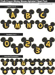 mickey mouse alphabet clipart chalk crayon letters yellow