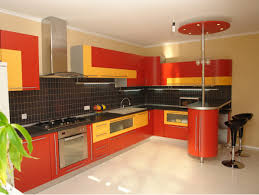 Contemporary Orange And Yellow L Shaped Kitchen Cabinet Design