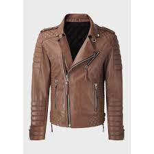 mens quilted light brown sheep leather jacket