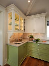 Cool Green Painted Cherry Wood Kitchen Cabinets With Solid Brushed