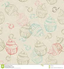 Seamless Pattern With Sweet Cupcakes And Berries In Vintage Style