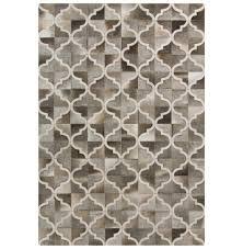 zaveri global bazaar quatrefoil beige grey cowhide rug 2x3 kathy kuo home