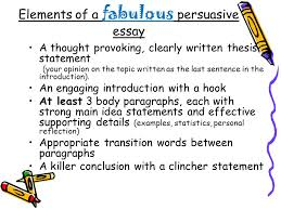persuasive writing what is persuasive writing persuasive writing  elements of a fabulous persuasive essay a thought provoking clearly written thesis statement your
