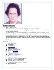 Magdalena Smith Villaruz (report).docx - Magdalena Smith Villaruz Born in  the year 1934 Filipino inventor and entrepreneur in the Philippines but |  Course Hero