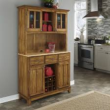 Home Styles Cottage Oak/Natural Wood China Cabinet with Wine Storage