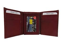 Tri Fold Window Genuine Leather Cow Hide Leather Tri Fold Wallet With Flip