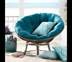 papasan chair pier 1fuzzy blue - she likes the darker blue fuzzy pillow.
