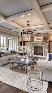 Love everything about this room.. lighting, ceiling, rug, decor, fireplace