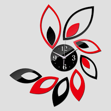 Small Picture Red Black Leafy Art Wall Clock iLoveJMC