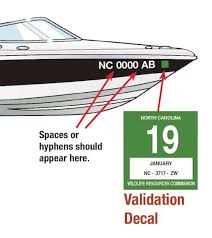 Boat Nc Displaying And The Decal Validation Number Registration Ed com™