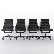 office chair genuine leather white. Black Leather Set (4) Herman Miller Original Vintage Eames EA219 Soft Pad Office Chair Genuine White E