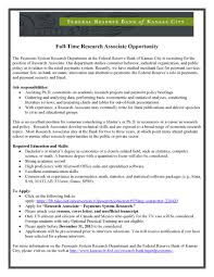 Research Associate Opportunity Federal Reserve Bank Of Kansas