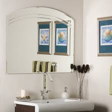 Frameless Bathroom Mirror Wade Logan Large Frameless Wall Mirror Reviews Wayfair