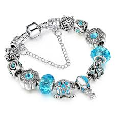 silver charm pan bracelets for women with exquisite hot air balloon pendant blue crystal bracelets bangles jewelry lucky charm bracelet bangle charm