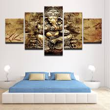 modern hd printed canvas posters home decor 5 pieces india ganesha paintings framed wall art elephant on framed wall art decor with modern hd printed canvas posters home decor 5 pieces india ganesha