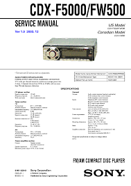 sony cdx 5040 5042 sm service manual schematics sony cdx f5000 fw500