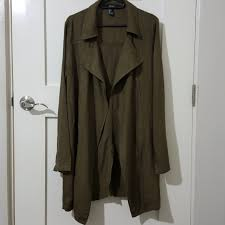 forever21 olive green trench coat light cotton preloved women s fashion clothes on carou