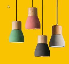 colorful pendant lighting. Colorful Concrete \u0026 Wood Handmade Pendant Light Lighting