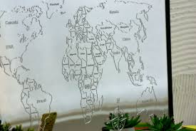 large world map wall mirror 129 99