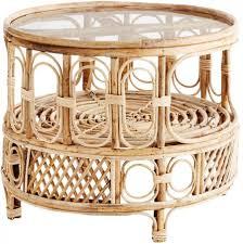 round bamboo coffe table mit glasplatte madam stoltz