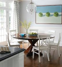 amazing the most dark stained round dining table with white x back chairs white wood dining room chairs decor