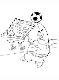 Kleurplaat Spongebob En Patrick Spelen Voetbal Kleurplaatjecom
