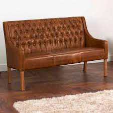 leather curved arm oned sofa bench choice of sizes by the rh notonthehighstreet com