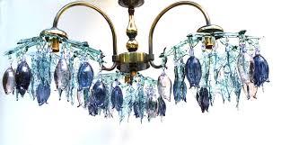 glass chandelier with aqua purple shades aqua1000c
