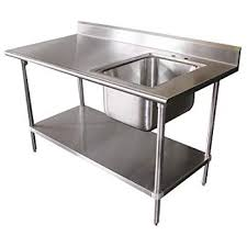 "Stainless Steel Table With Backsplash Gorgeous Amazon Prep Work Table With Sink 48"" X 48"" X 48"" W48"