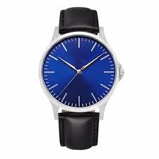 blue face watches with leather bands rose gold men watches